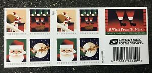 2021USA Forever A Visit From St Nick - Booklet of 20 Mint  christmas santa