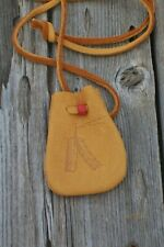 Leather medicine bag with feathers , Leather crystal neck bag