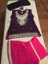 3 pc Girls Kids Pakistani Indian fancy party wear with FREE Bangles