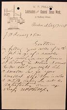 m Original 1880 W.P. Phillips Lubricators and General Brass Work Letterhead