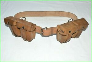 WW2 Set of Leather Belt + Pouches for MANNLICHER M95