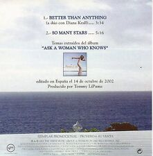 """NATALIE COLE & DIANA KRALL """"BETTER THAN ANYTHING"""" RARE SPANISH PROMO CD SINGLE"""