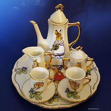 Beatrix Potter 'Mrs. Rabbit' 10-Piece Miniature Porcelain Tea/Coffee Set. Peter