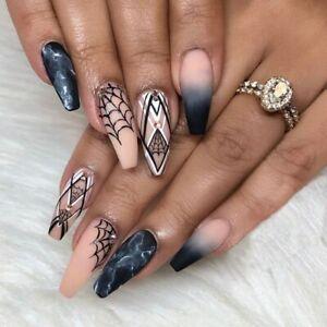 False nails Halloween Cobweb Extra Long Coffin 3D Ombre Black 24pk + nail tabs