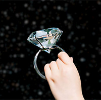 """3""""/80mm Large Glass Diamond Ring Paperweight Wedding Decoration Valentine's Gift"""