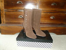 DELMAN Brown suede boots high heel cut out design size 9