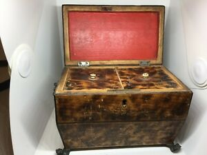 Antique Rosewood Sarcophagus Tea Caddie Caddy with Lion Head Ring Handles