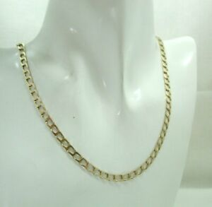 Ladies / Gents 9 Carat Gold Flat Cuban Curb Link Neck Chain 18 Inches