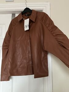 ZARA TAN BROWN FAUX LEATHER LONG SLEEVE SHIRT 10 12 M NEW WITH TAG
