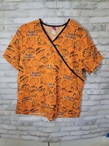 Wonderful World of Disney Scrub Top Sz Large Orange Cheshire Cat Happy Halloween