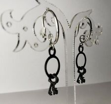 925 Solid Sterling Silver Leverback Spiral Earrings With Black Tiny Set Of Keys
