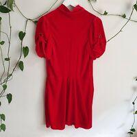 Isabel Marant Etoile Red Lazy Velvet Dress 36 XS AU8 Silk & Rayon Puff-Sleeve