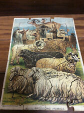 VINTAGE  WOODEN JIGSAW PUZZLE 'Wool producing animals'