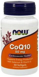 NOW Foods CoQ10 with Selenium & Vitamin E Support Heart Health 50mg 50 Softgels
