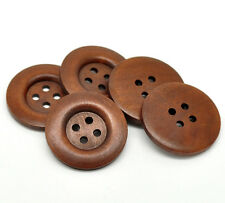 5 Wooden LARGE Brown rimmed Wood Buttons 40mm Sewing