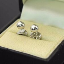 18k White Gold Filled Earrings 6mm Smooth Ball Bead Stud GF Fashion Jewelry Gift