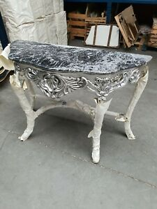 CONSOLE - SILVER CONSOLE WITH BLACK MARBLE TOP #MB25