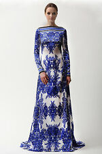 NAEEM KHAN blue ivory silk full length floral caftan gown maxi dress 8 NEW