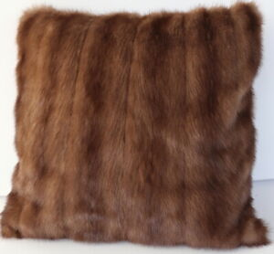 Mink Pillow Fur Case Fur Pillow Case Linen Look Sofa Couch Deco Nut Braun