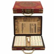 144 Tiles Retro Chinese MahJong Game With Leather Box Set Portable AU SHIP