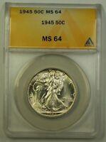 1945 US Walking Liberty Silver Half Dollar 50c Coin ANACS MS-64 Very Choice B