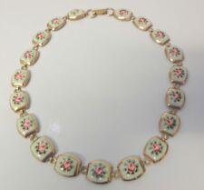 Vintage Victorian Roses Enamel Pink Flower Necklace
