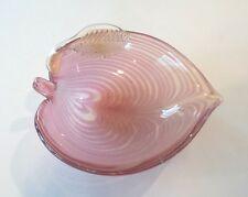 MID-CENTURY MURANO ART GLASS LEAF DISH / BOWL, ROSE with AVENTURINE (GOLD MICA)