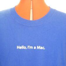 Hello, I am Mac Apple Macintosh Royal Blue XL X-LARGE T Shirt Apple Logo On Back