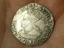 1554-58 Philip & Mary Groat 4d Hammered Silver Coin mm Lis - Spink 2508  #LBB4
