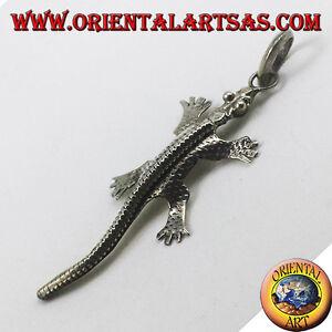 Silber Anhänger, Gecko Handgefertigt