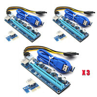 3 PCS VER008C Pcie PCI-E Express 1x To 16x Extender Riser Card Adapter BTC Cable