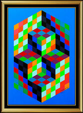 Victor Vasarely Original Screenprint Collage Hand Signed Large Modern EMBOSSED