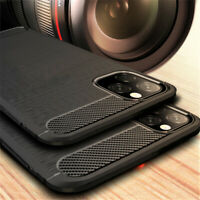 For Apple iPhone 11 Pro Max Slim Fiber Carbon Silicone Matte Soft TPU Case Cover