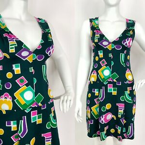 VINTAGE 60s 70s GREEN PINK YELLOW GEOMETRIC MOD PLUNGING SLEEVELESS DRESS 14 16