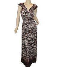 Short Cap Sleeve Leopard Print Maxi Dress Brown Blue Plus Size XL 2XL 3XL 4XL