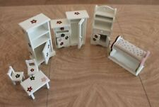 White Wooden Flower Dollhouse Bedroom Furniture Bunkbed Armoire Drawers Table Lo