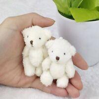 6pcs/lot Mini Joint Bear Stuffed Plush Toys 6.5cm Cute White Teddy Bears Pendant