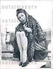 1955 CA Acrobat Dancer June Paul in Leopard Skin Coat on SS Liberte Press Photo