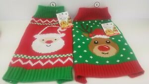 2 Santa/Rudolph Christmas Sweater for Dog Knit Size (Small) Red/Green/White NEW!