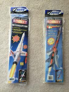 TWO Estes Flying Model Rocket Kits Interceptor #1250 & Screaming Eagle #2117