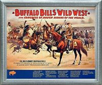 Wild West Buffalo Bill's Western Rough Riders Horses Wall Silver Framed Picture