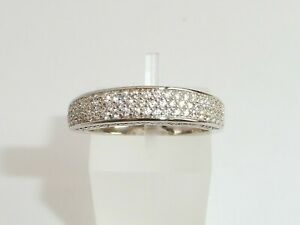Ladies Modern Design 925 Solid Silver Sterling Brilliant Cut White Sapphire Ring