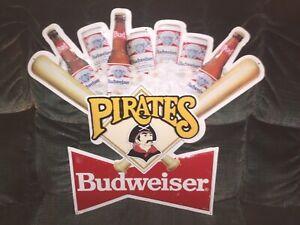1990'S BUDWEISER PITTSBURGH PIRATES METAL TIN  BAR BEER SIGN