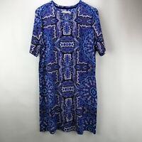 Isaac Mizrahi Live! Choice of Print  T-Shirt Dress Blue Tile M   A307531