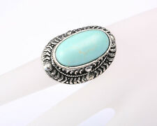 Vintage Style Silver Tone Turquoise Oval Ring, Adjustable size N to R