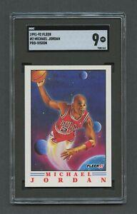 1991 Fleer Basketball Pro Visions MICHAEL JORDAN #2 SGC 9 MINT Chicago Bulls HOF
