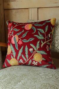 William Morris Cushion Cover Rouen Velvet Fruit in Red Double Sided