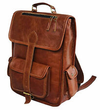 Brown Leather Vintage Rucksack Large Backpack Men Laptop Travel Bag Messenger