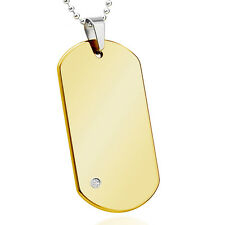 0.05ct White Diamond Polish Yellow Gold Plated Tungsten Carbide Dog Tag Pendant