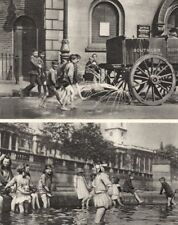 LONDON. Children enjoying a heat wave in the East and West end 1926 old print